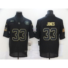 Green Bay Packers #33 Aaron Jones Black 2020 Salute To Service Limited Jersey