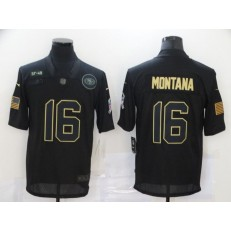 San Francisco 49ers #16 Joe Montana Black 2020 Salute To Service Limited Jersey