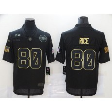 San Francisco 49ers #80 Jerry Rice Black 2020 Salute To Service Limited Jersey