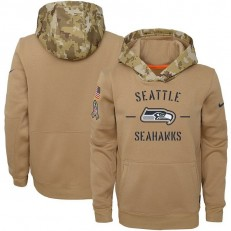 Youth Seattle Seahawks Nike Khaki 2019 Salute to Service Therma Pullover Hoodie