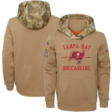 Youth Tampa Bay Buccaneers Nike Khaki 2019 Salute to Service Therma Pullover Hoodie