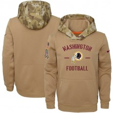 Youth Washington Redskins Nike Khaki 2019 Salute to Service Therma Pullover Hoodie