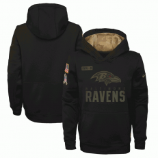 Baltimore Ravens Nike Black 2020 Salute to Service Sideline Performance Pullover Youth Hoodie