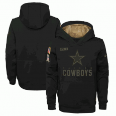 Dallas Cowboys Nike Black 2020 Salute to Service Sideline Performance Pullover Youth Hoodie