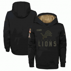 Detroit Lions Nike Black 2020 Salute to Service Sideline Performance Pullover Youth Hoodie