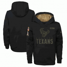 Houston Texans Nike Black 2020 Salute to Service Sideline Performance Pullover Youth Hoodie