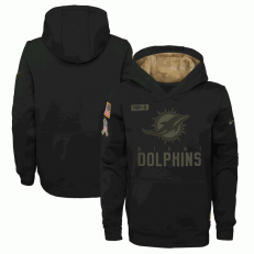 Miami Dolphins Nike Black 2020 Salute to Service Sideline Performance Pullover Youth Hoodie