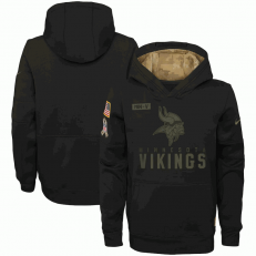 Minnesota Vikings Nike Black 2020 Salute to Service Sideline Performance Pullover Youth Hoodie