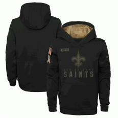 New Orleans Saints Nike Black 2020 Salute to Service Sideline Performance Pullover Youth Hoodie