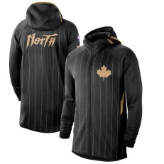 Nike Toronto Raptors BlackAnthracite 2019-2020 Earned Edition Showtime Full-Zip Performance Hoodie