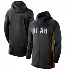 Nike Utah Jazz BlackWhite 2019-2020 Earned Edition Showtime Full-Zip Performance Hoodie