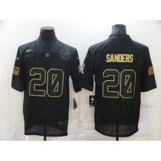Detroit Lions #20 Barry Sanders Black 2020 Salute To Service Limited Jersey