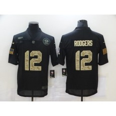 Green Bay Packers #12 Aaron Rodgers Black Camo 2020 Salute To Service Limited Jersey
