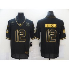 Green Bay Packers #12 Aaron Rodgers Black Gold 2020 Salute To Service Limited Jersey