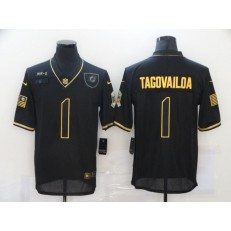 Miami Dolphins #1 Tua Tagovailoa Black Gold 2020 Salute To Service Limited Jersey