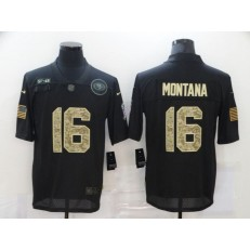 San Francisco 49ers #16 Joe Montana Black Camo 2020 Salute To Service Limited Jersey