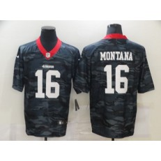 San Francisco 49ers #16 Joe Montana Black Camo Limited Jersey