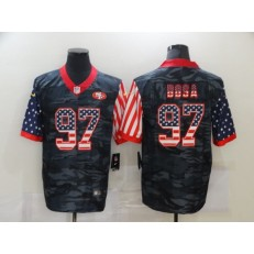 San Francisco 49ers #97 Nick Bosa Black Camo USA Flag Limited Jersey
