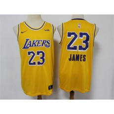 Los Angeles Lakers #23 Lebron James Yellow Nike Swingman Jersey
