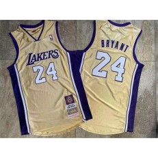 Los Angeles Lakers #24 Kobe Bryant Gold Hall Of Fame Memorial Edition Embroidered Jersey