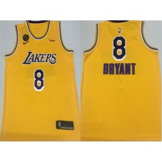 Los Angeles Lakers #8 Kobe Bryant Yellow KB Patch Swingman Jersey