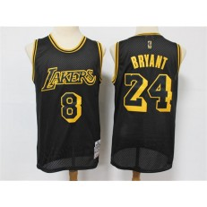 Los Angeles Lakers #8 & 24 Kobe Bryant Black 2020 Hardwood Classics Mesh Jersey