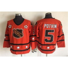1980 All Star #5 Denis Potvin Orange CCM Throwback Stitched NHL Jersey