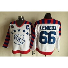 1992 All Star #66 Mario Lemieux White CCM Throwback 75TH Stitched NHL Jersey