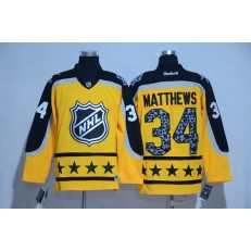 Toronto Maple Leafs #34 Auston Matthews Yellow Atlantic Division 2017 All Star NHL Jersey