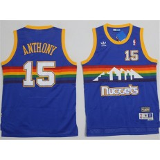 Denver Nuggets #15 Carmelo Anthony Light Blue Rainbow Throwback Stitched NBA Jersey