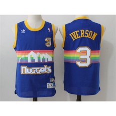 Denver Nuggets #3 Allen Iverson Light Blue Rainbow Throwback Stitched NBA Jersey