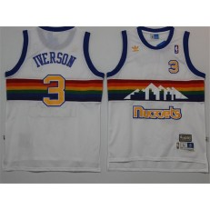 Denver Nuggets #3 Allen Iverson White Rainbow Throwback Stitched NBA Jersey