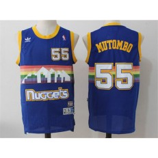 Denver Nuggets #55 Dikembe Mutombo Light Blue Rainbow Throwback Stitched NBA Jersey