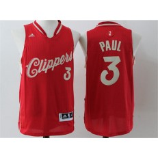 Los Angeles Clippers #3 Chris Paul Red Christmas Edition Stitched NBA Jersey