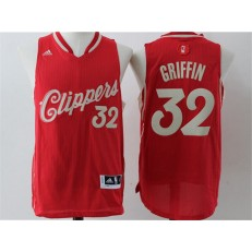 Los Angeles Clippers #32 Blake Griffin  Red Christmas Edition Stitched NBA Jersey