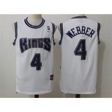 Sacramento Kings #4 Chris Webber White Home Throwback Stitched NBA Jersey
