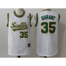 Seattle Supersonics #35 Kevin Durant White Throwback Stitched NBA Jersey