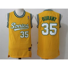 Seattle Supersonics #35 Kevin Durant Yellow Throwback Stitched NBA Jersey