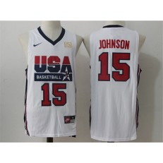 Nike Team USA 15 Magic Johnson White 2012 USA Basketball Retro Stitched NBA Jersey