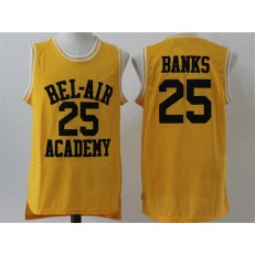 Movie Bel Air Academy #25 Banks Gold Stitched Basketball Jersey