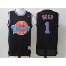 Movie Space Jam Tune Squad #1 Bugs Bunny Black Stitched Basketball Jersey