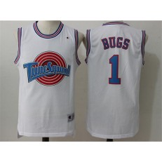 Movie Space Jam Tune Squad #1 Bugs Bunny White Stitched Basketball Jersey