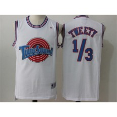 Movie Space Jam Tune Squad #1/3 Tweety White Stitched Basketball Jersey
