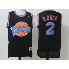 Movie Space Jam Tune Squad #2 Daffy Duck Black Stitched Basketball Jersey