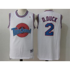 Movie Space Jam Tune Squad #2 Daffy Duck White Stitched Basketball Jersey