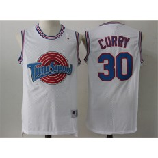 Movie Space Jam Tune Squad #30 Stephen Curry White Stitched Basketball Jersey