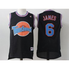 Movie Space Jam Tune Squad #6 James Black Stitched Basketball Jersey
