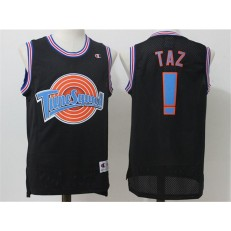 Movie Space Jam Tune Squad #! Taz Black Stitched Basketball Jersey