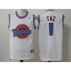 Movie Space Jam Tune Squad #! Taz White Stitched Basketball Jersey