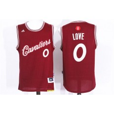 Cleveland Cavaliers 0 Kevin Love Red 2015 Christmas Edition Stitched NBA Jersey